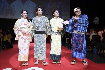 左から、早見あかり、安田顕、佐藤二朗、福田雄一監督