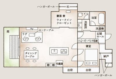 リノベーション後の安武さん宅の間取り。玄関を入って廊下正面がLDK空間。寝室にはLDKからも、玄関から直接納戸経由でも出入りすることができる(安武さん提供資料を基にSUUMOジャーナル編集部にて作成)