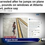 下着姿で誘導路に侵入した男、飛行機の翼にジャンプ(米)<動画あり>