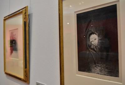 オディロン・ルドン 『ゴヤ頌』より《Ⅱ.沼の花、悲しげな人間の顔》1885年 岐阜県美術館