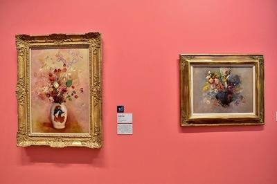 左:オディロン・ルドン 《日本風の花瓶》1908年 ポーラ美術館 右:オディロン・ルドン 《花》1905-1910年頃 岐阜県美術館