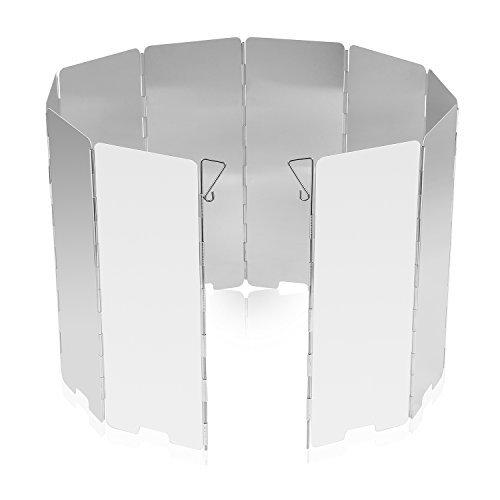 OUTAD 風除板 防風板 ウインドスクリーン 折り畳み式 アルミ製 10枚のプレート 延長版 軽量 耐摩 風よけ 風防 小型 キャンプ 登山 BBQ 携帯に便利 防風板