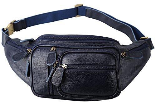 [(チョウギュウ) 潮牛] ポケット多数 本革 レザー メンズ ウエストバッグ ヒップバッグ 2WAY 柔軟牛革 鞄 ボディバッグ ネイビー