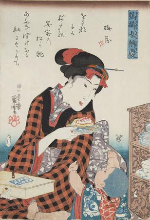 歌川国芳「縞揃女弁慶 安宅の松」味の素食の文化センター蔵(前期)