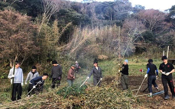 裏山で長年放置されて広がってしまった竹をみんなで刈って整備。新しい農法に挑戦したりなど新しい取り組みにも挑戦している(写真提供/ヤマナハウス)