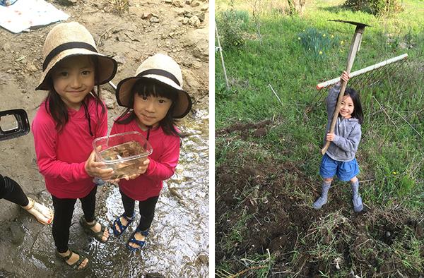 左)川鍋さんの娘さんたち。自然のなかで遊び、生きものに触れる機会が増えた。右)農作業のお手伝いも貴重な経験(画像提供/川鍋宏一郎)
