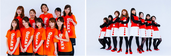 OSCAR'S(オスカープロモーション/写真左)と、Shochiku Sisters(松竹芸能/写真右)