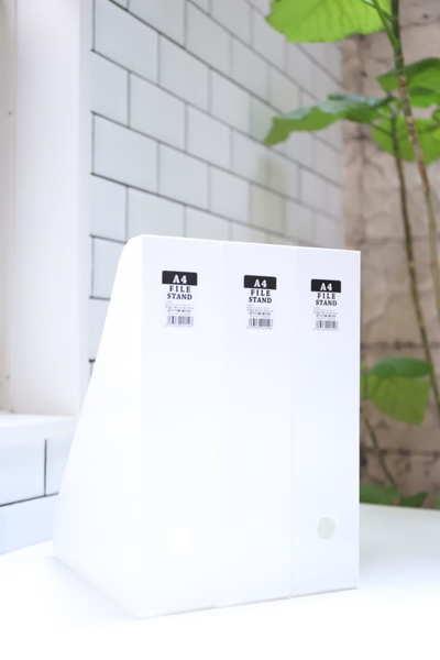 真っ白な収納アイテム その①A4ファイルスタンド