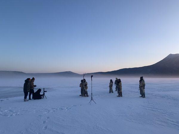 マイナス20度以下の早朝での撮影風景