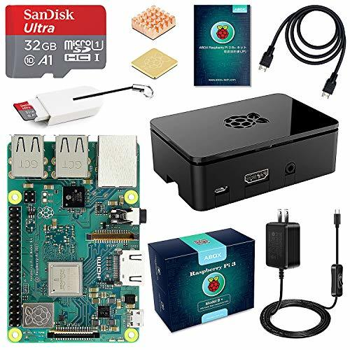 ABOX Raspberry Pi 3 Model b+ ラズベリーパイ 3 b+【2018新型】 MicroSDHCカード32G/NOOBSシステムプリインストール/カードリーダ /5V/3A スイッチ付電源/高品質HDMIケーブルライン/ヒートシンク /簡単に取り付けケース /日本語取扱説明書