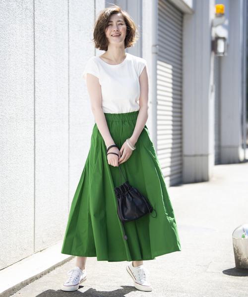 [YARD PLUS] AUNT MARIE'S ポプリンボリュームロングスカート