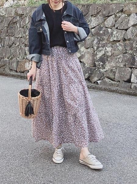 小花柄スカート6