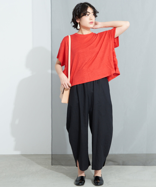 [bulle de savon] リネン天竺 Bigポケット Tシャツ