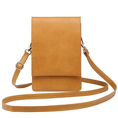 小さなショルダーバッグ、携帯も入れる女性クロスボディパースミニポーチ女性 (キャメル)