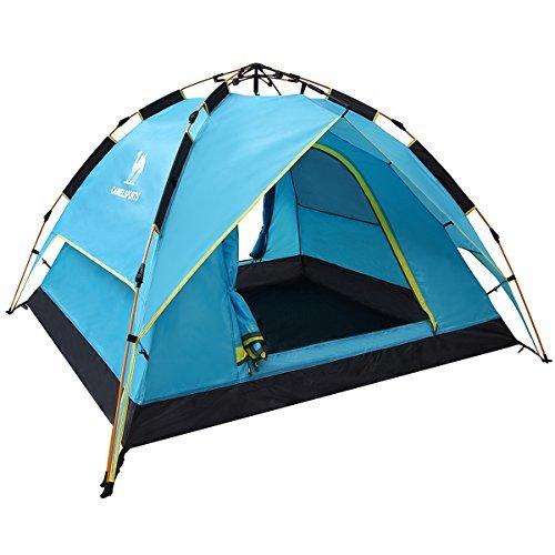 テント Camel[キャメル] ワンタッチテント フルクローズ ドームテント 折りたたみ キャンプテント設営簡単 撥水加工 通気性 防雨 防風 紫外線カット 3-4用 (ブルー)