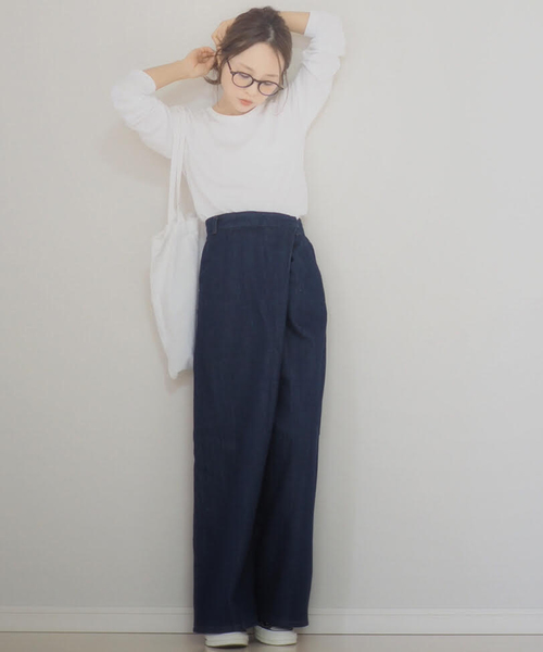 【WEARISTA 田中亜希子 コラボ】ウエストラップワイドデニム
