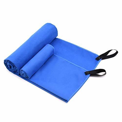 Micv 速乾タオル スポーツタオル 2枚セット 超吸水 抗菌防臭 超極細繊維マイクロファイバー コーナーポケット付き 柔らかい ジム用 フィットネス、ヨガ、テニス、水泳などに最適 (ブルー)