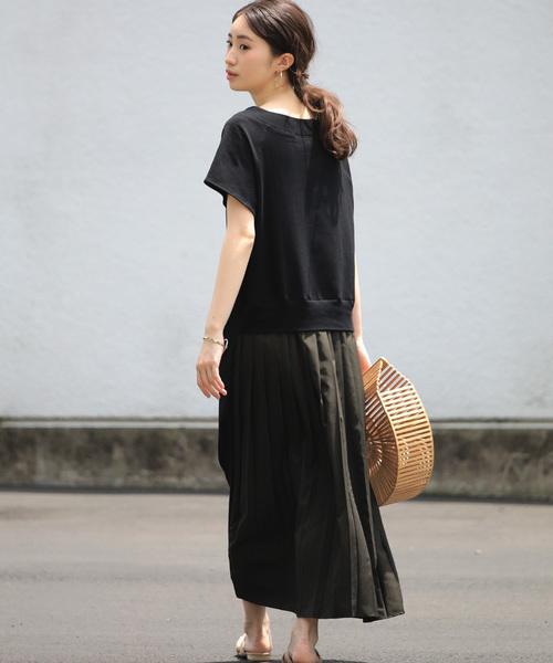 [Bou Jeloud] バックスタイルが可愛い!◆スウェット後ろプリーツ半袖ワンピース