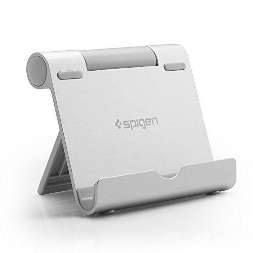 【Spigen】 タブレット スタンド 折りたたみ式 角度調整可能軽量 iPhone XS / iPhone XS Max / iPhone XR / iPhone X / 8 / 8 Plus / 7 / 7 Plus / 6S / 6S plus / SE / ipad / ipad pro / ipad air / ipad mini / ipad air2 / Galaxy S9 / S9 Plus / S8 / S8 Plus / S7 Edge / Note 9 / Note 8 / Nexus / Huawei / Kindle Fire タブレット スマートフォン 対応 000CD20882 (シルバー)