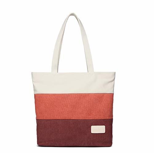 STARWARE(スターウェア) 3colorボーダートートバッグ 仕切りポケット レディース メンズ 学生 男女両用 大容量 キャンバス ショルダー ハンドバッグ (白オレンジ赤)