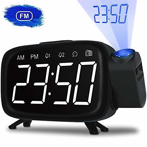 目覚まし時計 投影 時計 ラジオ時計 多機能デジタル時計 壁 天井 投影 投影180°調整可能 FMラジオ付き スヌーズ機能 USB給電 LED三階段の明るさ 大音量 携帯充電可能
