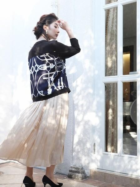 14[cawaii] FRENCHPAVEオリジナル プレミアムクラスときめく上品スカーフ柄カーディガン