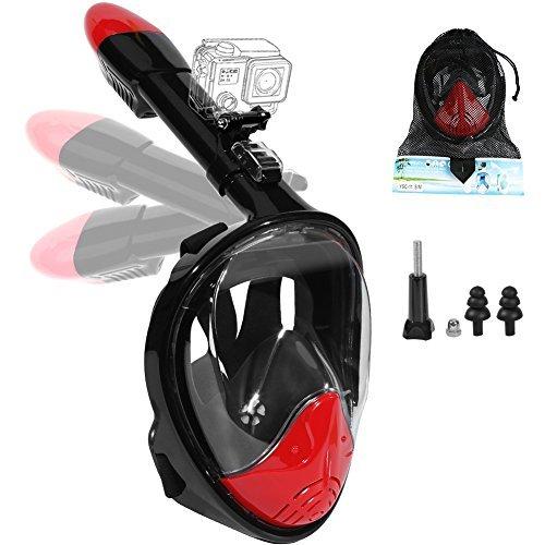 AreaHome シュノーケルマスクフルフェイス ダイビングマスク 水中メガネ 耳栓機能付き 口呼吸、鼻呼吸、どちらでも対応、水中撮影 テンパードガラス 調節可能ストラップ 折り畳み可能 収納便利 水泳 ダイビング ゴーグル マスク 1年保証 2サイズ レディース メンズ (L/XL, レッド)