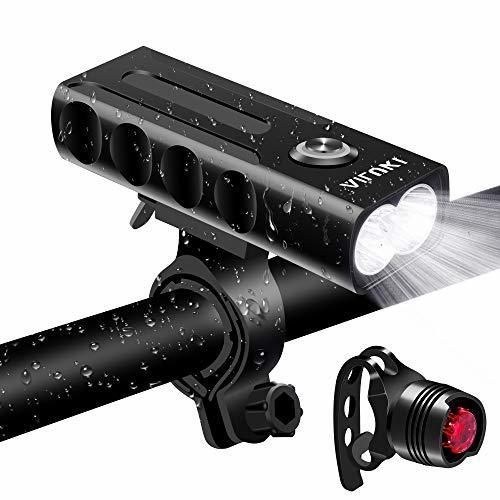 Vaimen 自転車ライト USB充電式 LEDヘッドライト 2600mah大容量 高輝度 懐中電灯兼用 アルミ合金製 IPX5防水 小型 軽量 300メートル以上照射 テールライト付 夜間乗り/キャンプ/ウォーキングドッグに最適 12ヶ月間安心保証