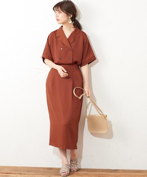 [natural couture] Wブレスト開襟シャツジャケット