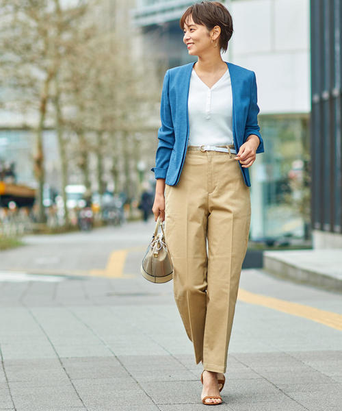 [green label relaxing] 【WORK TRIP OUTFITS】BC C/PU チノ ノータック パンツ