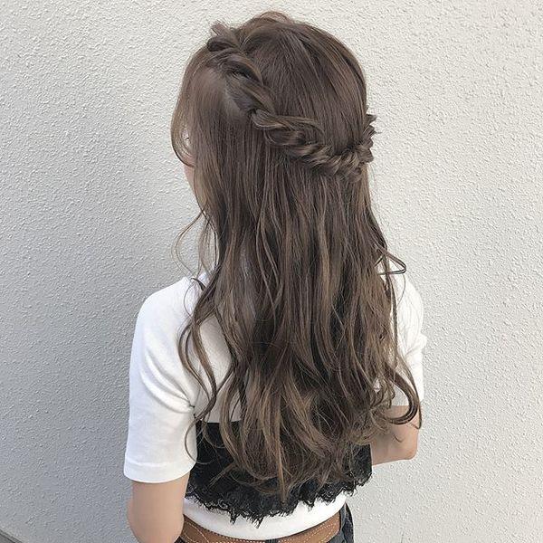 結婚式 髪型 ロングヘア ハーフアップ