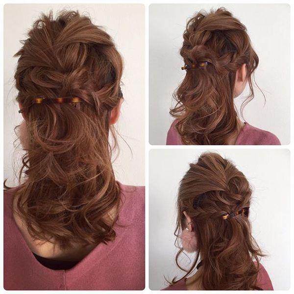 結婚式 髪型 ロングヘア ハーフアップ4