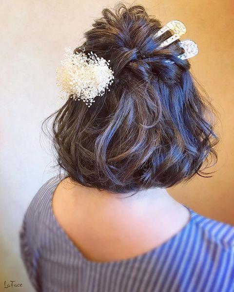 結婚式 髪型 飾り ハーフアップ
