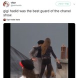 シャネルのショーでフランス人YouTuberの女性がランウェイに乱入 ジジ・ハディッドが撃退