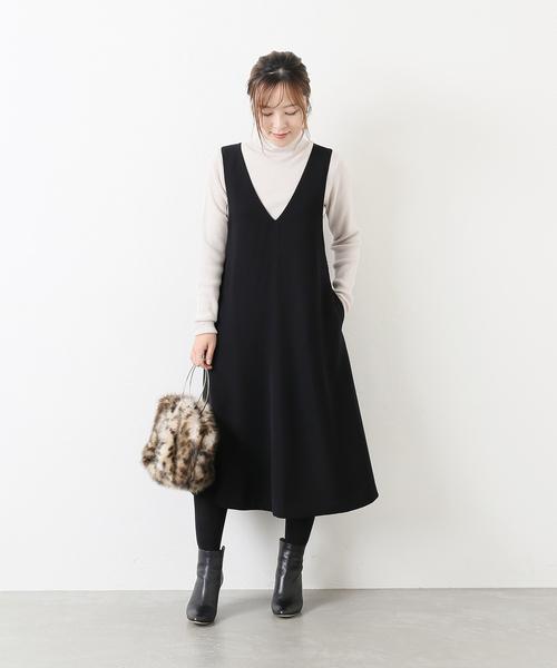 [La TOTALITE] ダブルクロスジャンパードレス【手洗い可能】◆