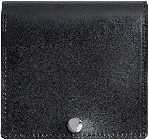 Dom Teporna Italy 薄い 二つ折り財布 本革 イタリアンレザー 折りたたみ ミニ財布 メンズ レディース (black)
