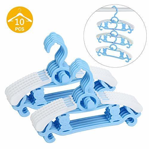 Zebricolo ベビー用ハンガー 子供用ハンガー 伸縮 滑らない フック部分にはロープ掛けに対応できて 滑り止め型崩れ防止省スペース可乾湿両用 多目的収納式 10本セット ブル