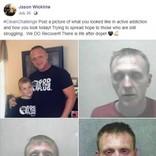 薬物を断つ前と後の写真を投稿した男性「4歳息子の言葉で目が覚めた」(米)