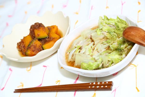 鍋と副菜のかぼちゃおかか煮
