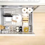 キッチンの無駄なスペースがなくなり、使い勝手もアップ! 組み合わせ自由な引き出し収納ツール