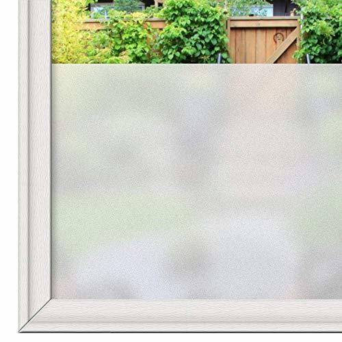 Rabbitgoo 窓用ガラスめかくしシート 曇りガラスフィルム すりガラス目隠しシート マドピタ飾りシート 方眼付き貼付簡単 不透明目隠し 水で貼ってはがせる UVカット紫外線対策 飛散防止防犯防災 日よけ遮光 断熱 結露防止 浴室 お風呂 食器棚 おしゃれ 網入りガラス適用(艶消し 90 x 200cm)