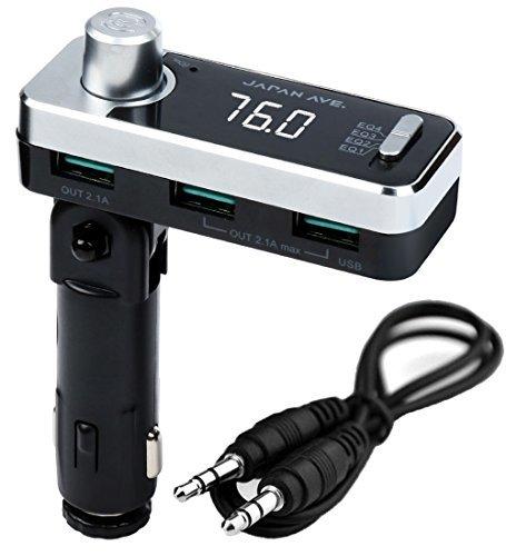 JAPAN AVE.(ジャパンアベニュー) 特許取得 FMトランスミッター Bluetooth 5.0 高音質 (ATSチップ搭載) iPhone 急速充電 USB ×3口 / AUX 有線接続 / 12-24V シガーソケット SmartBC アプリ 無償提供 JA996 [メーカー1年保証]