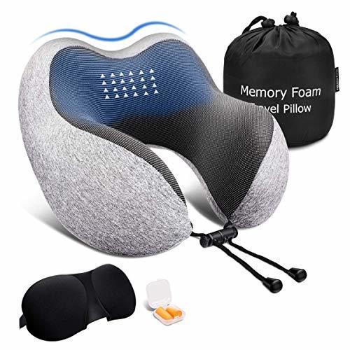 ネックピロー 低反発 Keenstone 飛行機 携帯枕 U型まくら 首枕 旅行用 新幹線 出張 頚椎肩こり改善 洗えるカバー アイマスク 収納袋付「安心メーカー1年保証」 (グレー)