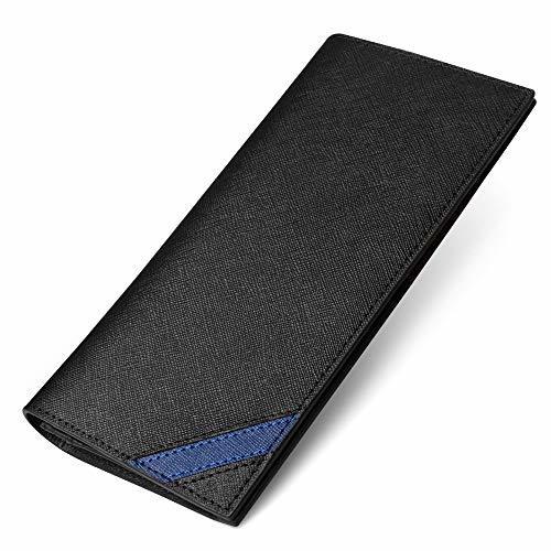 MARRY 長財布 メンズ 財布 二つ折り 本革 内アメ革 紳士 16枚カード 2つ折り財布 (青)