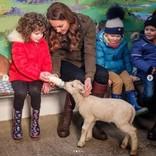 キャサリン妃が農場をサプライズ訪問 ヘビを腕に這わせる姿も