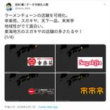 幸楽苑・スガキヤ・天下一品・来来亭……主要ラーメンチェーンの店舗分布を可視化した画像が話題に