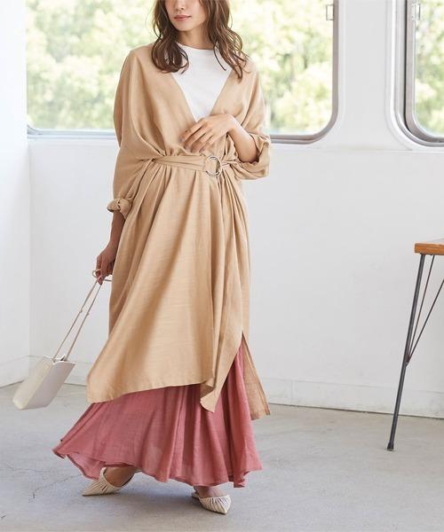 薄手ロングジャケット×マキシフレアスカート
