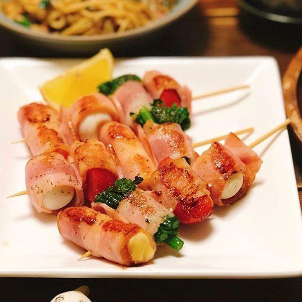 焼き魚と簡単な副菜に!ベーコン巻き串焼き