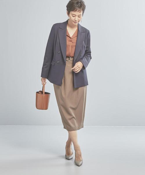 ダブルジャケット×ミモレ丈スカート