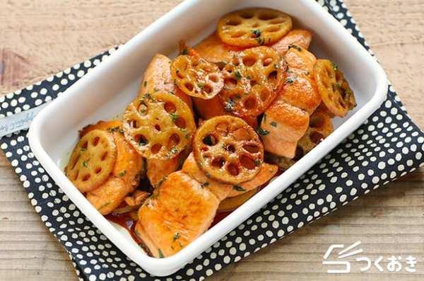 カレーうどんに!鮭とれんこんのしそ照り焼き